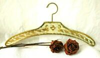 Pair Italian Florentine Wood Hangers Hand painted Gold Gilt Ivory -Chic Toleware