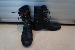 Russell & Bromley Black studded combat boots barely worn sz 37/UK 4