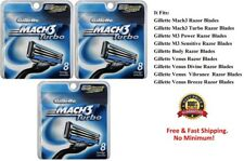 * 24 Gillette Mach 3 Turbo Rasierklingen Refills Patronen Shaver 8*2 Fit m3 Power