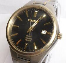 Seiko SNE382  Men's Two-Tone Titanium Solar Black Dial Watch