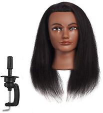 Mannequin Head Real Hair Styling For Dyeing Cutting Braiding Practice With Clamp