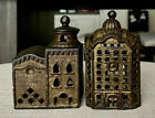 """Antique AC Williams Cast Iron Still Penny Banks: """"3 Story Mosque"""" & """"Domed Bank"""""""