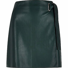 Bottle Green Tie Bow Faux Leather Skirt size 14 River Island  bnwt