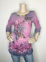 ANAC Large Butterfly Floral Sheer Crinkle Back 3/4 Sleeve Top Shirt Blouse
