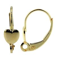 14k Yellow Gold Leverback Earring Mounting Dangling Setting Heart & Loop Style