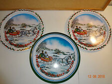 Lot of 3 Vintage Currier & Ives Metal Tray Serving Platters - Winter Scene
