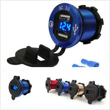 Aluminum Blue LED Digital Display Motorcycle Bikes 4.2A Dual USB Charger Adapter