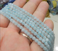 """Natural 4mm Faceted Aquamarine Gems Round Loose Beads 15"""""""