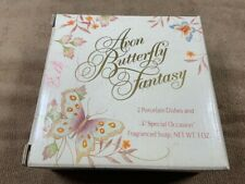 *Nib* Vintage Avon Butterfly Fantasy, 2 Porcelain Dishes, Embossed Soap & Box