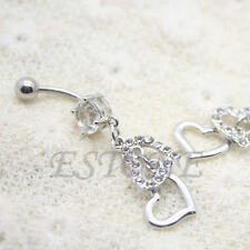 Rhinestone Heart Dangle Body Piercing Button Ball Belly Navel Ring Barbell