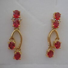 Stunning Certified 1.91ct Natural Malawi Ruby Gold Drop Earrings