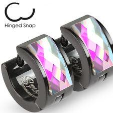 Pair of Black Stainless Steel Hoop Earrings with Faceted Square Gem Facings