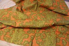 "Vintage 70s Boho Orange and Green Semi Shear Paisley Dress Fabric 1 yd 27"""
