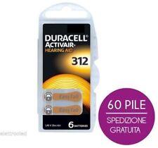 60 batterie per apparecchi acustici DURACELL ACTIVAIR 312 PR41 1.45V CORRIERE