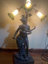 Antique Art Nouveau Spelter French Figural Greek Lover Statue Lamp
