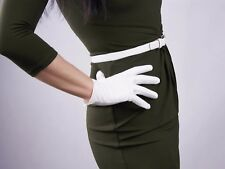 Tech Gloves Faux Leather Patent Leather Wrist Long Short Black White Touchscreen