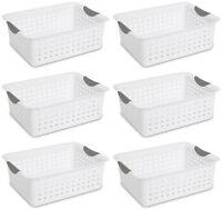 Sterilite Medium Ultra Plastic Storage Organizer Basket, White (6 Pack) 16248006