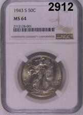 1943 S NGC CERTIFIED MS 64 WALKING LIBERTY HALF DOLLAR FLASHY WHITE! #2912