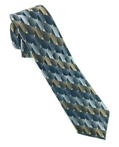 "Silk Tie Class Club Gold Label Gray Gold Silver Geometric Print 3"" x 50"" NWOT"
