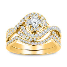 Cut Solitaire Engagement Ring Bridal Set 14K Yellow Gold Fn 3.00Ct Diamond Round