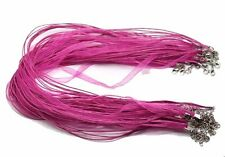 15 Organza Ribbon with Waxen Cord Necklaces Lobster Clasp 17 Inch (Dark Pink)