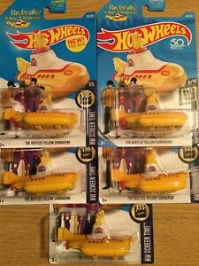 HOT WHEELS 2016 FIRST #225 2017 #49 2018 #26 BEATLES YELLOW SUBMARINE LOT OF 5
