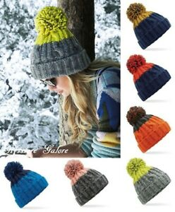 Cable Knit Beanie Hat Apres Ski Pom Pom Bobble Winter Warm Chunky Woolly Hats