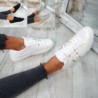 WOMENS LADIES LACE UP ROCK STUD PLIMSOLLS TRAINERS SNEAKERS CASUAL SHOES SIZE UK