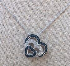 "New Black & White Diamond Heart Love Pendant Sterling Silver 925 20"" Great Gift"