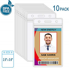 10 Pack ID Card Badge Holder Vertical Clear Plastic Nametag Card Holders PVC NEW