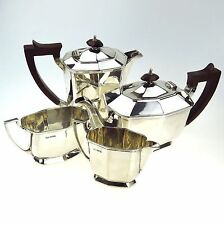 STERLING SILVER TEA SET - CHARLES WILLIAM FLETCHER - SHEFFIELD 1931 ART DECO
