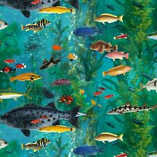 Fabric Fish All Species Aquarium View Full on Blue Cotton 1/4 yard Elizabeth