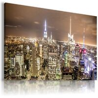 NEW YORK CITY  BY NIGHT View Canvas Wall Art Picture Large SIZES  L114 X