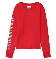 Victoria's Secret Sport Logo Fleece Crew Relaxed Slouchy Pullover Sweater L Red