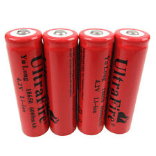 4X 18650 Batteries 6000mAh 3.7V-4.2V Li-ion Rechargeable Battery for Flashlight