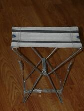 Vintage Folding Cloth Canvas Metal Frame Stool - Chair - Fishing Hunting Camping
