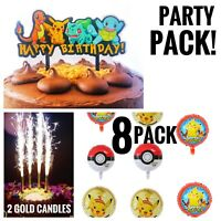 Pokemon Pikachu Birthday Party Pack Balloons Cake Topper Candles FREE SHIPPING!