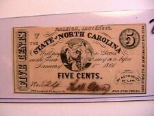 North Carolina Raleigh 5 Cents Jan 1 1863 CU Original Banknote Paper Money Cr148