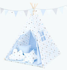 Tipi Teepee Kinderzelt 150cm Wigwam 3 Kissen Bodenmatte Sterne Blau Grau /Blau