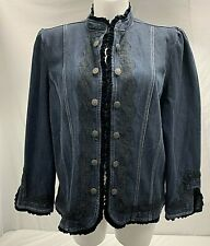 Live A Little Dark Blue Denim Jacket With Black Lace And Velvet Accents Size 1X