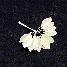 36 feuilles ivoire en tissus, décoration de mariage, scrapbooking