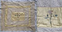 Antique Victorian Lace & Yellow Gold Silk Floss Embroidery Table Topper Sham
