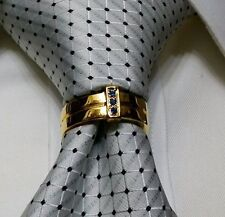MENS NECK TIE RING CLASP CHARM TACK PIN EURO T BOSS WEDDING GROOM GIFT GOLD NEW