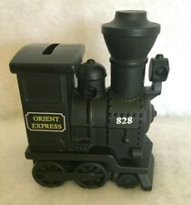 New ListingCeramic Black Short Locomotive Train Orient Express 828 Piggybank with Plug