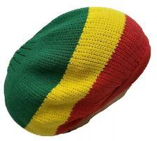 Red Yellow Green Beret Tam Hat Rasta Slouch Beanie  Cap Dreadlocks Dreads M/L