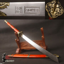 Kangxi Emperor Dragon broadsword Sabre Chinese Sword Folded steel blade Red Wood