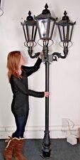 USED Ex-Display 2.3m Black Victorian Triple Head Garden Lamp Post Lighting Set