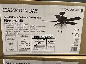 Hampton Bay Riverwalk 42 in. LED Indoor/Outdoor Natural Iron Ceiling Fan 91142