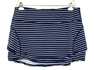 Athleta Stripe Stealth Skort Size XL Skirt Navy Blue White Striped Athletic Run