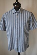 Ben Sherman blue stripe short sleeve shirt size medium casual mod skin